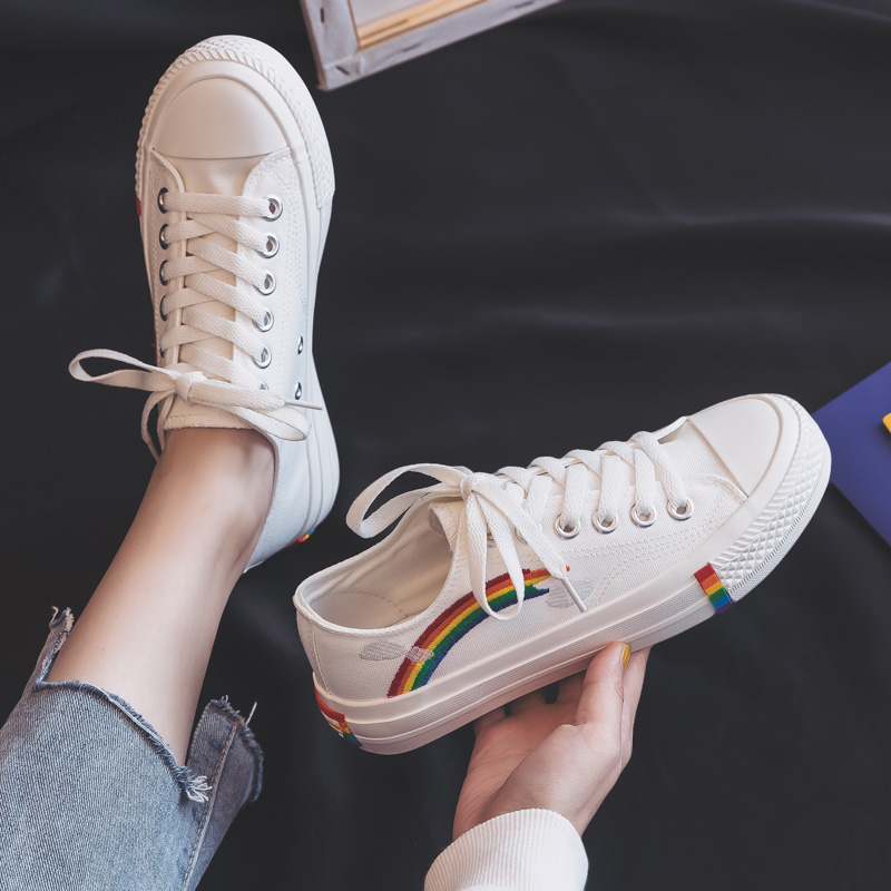 Rainbow Canvas Women Shoes 2019 New Fashion Shoes Leisure Board Shoes Retro Wild Low-top Breathable Casual Shoes Women Sneakers 5