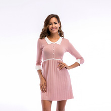 Women Maternity Clothes Sexy Solid Seven Sleeve Pregnant Nursing Breastfeeding Boho Pregnancy Mini Dress