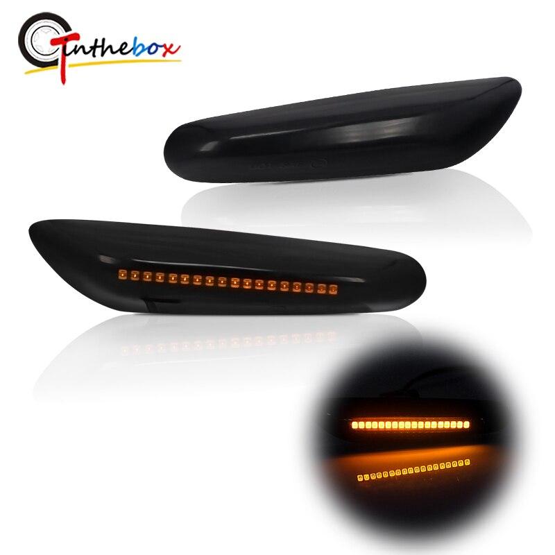 Gtinthebox 2PCS Smoked Lens Amber LED Turn Signal Side Marker Light Blinker Lamp for BMW E46 E60 E61 E90 E91 E81 E82 E88 X3 X1