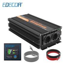Convertisseur de puissance à onde sinusoïdale pure EDECOA 24V à 220V convertisseur de crête 1500w 3000w avec télécommande et port USB 5V 2.1A