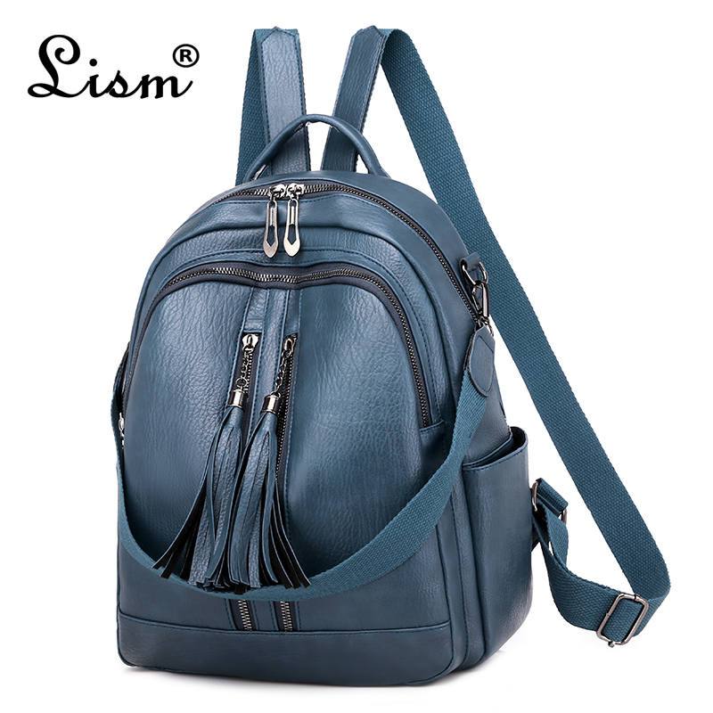 Fashion Tassel Women Backpack High Quality Youth Leather Backpack For Teenage Girls Female School Shoulder Bag Bagpack Mochila