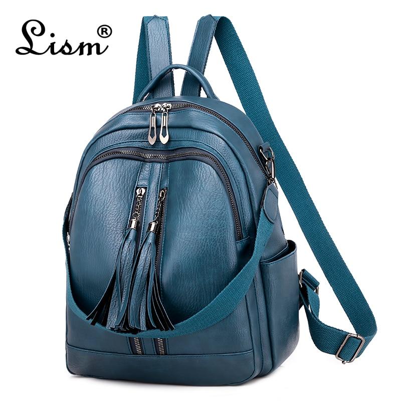 Fashion Tassel Women Backpack High Quality Youth Leather Backpack For Teenage Girls Female School Shoulder Bag Bagpack Mochila