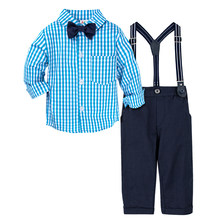 Baby Wedding Cute Outfit Infant Gentleman Formal Clothing Set Toddler Birthday Party Gift Suit Shirt Pants Overalls(China)