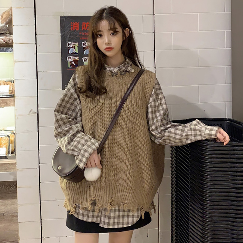 Two-Piece Set With Holes Knitted Vest + Korean-style Long Sleeve Plaid Shirt Women's