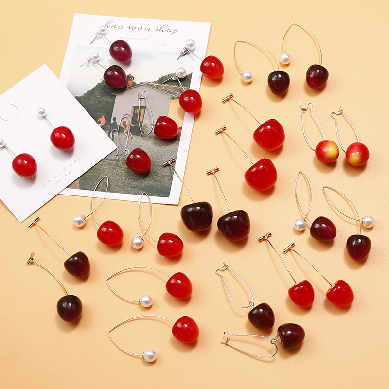 Gradient Cherry Earrings for Women Collection Simulation Cherries Fruit Pearl Korean Fashion Jewelry