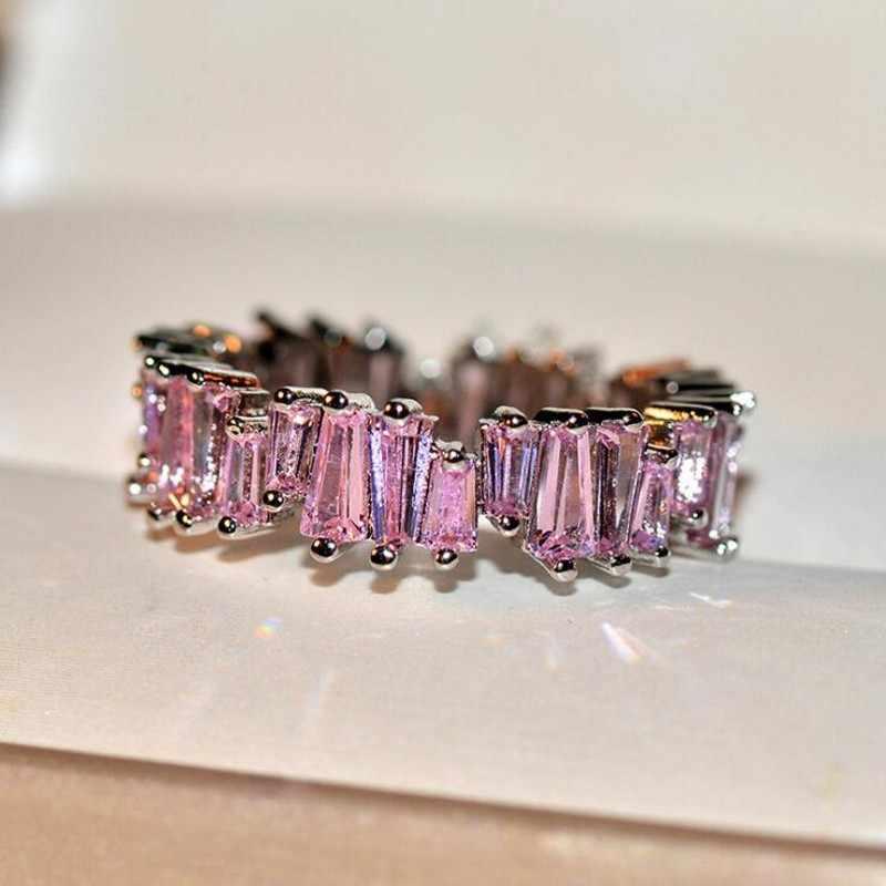 Espumante Jóias de Luxo 925 Prata & Rose Gold Preencha T Corte Da Princesa Colorido 5A Cubic Zirconia Eternity Banda De Casamento Das Mulheres anel