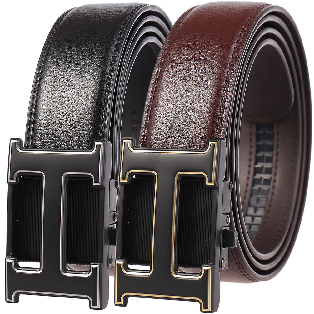 High Quality Genuine Leather Men Belt Metal Automatic Buckle Black Male Belt Business Ratchet Belt H Letter Cinto Masculino 2020