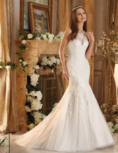 Criss-cross Mermaid WEdding Dress 2016 Sexy Bridal Gown High Neck Lace Wedding Dresses with Beaded vestidos de noiva lace fingerless arm sleeves with criss cross