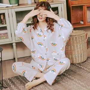 Image 5 - BZEL Hot Sale Pajamas Sets For Women Stylish Cartoon Pijamas Long Sleeves Long Pans Ladies Pyjamas Casual Homewear Big Size XXXL