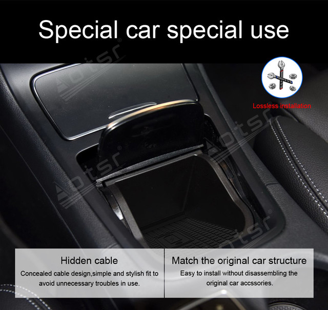 QI Wireless Charge Special On-board Charge Phone Charge Panel Android For Mercedes Benz GLA A Ser 15-18 Pad Non-slip Accessories 3