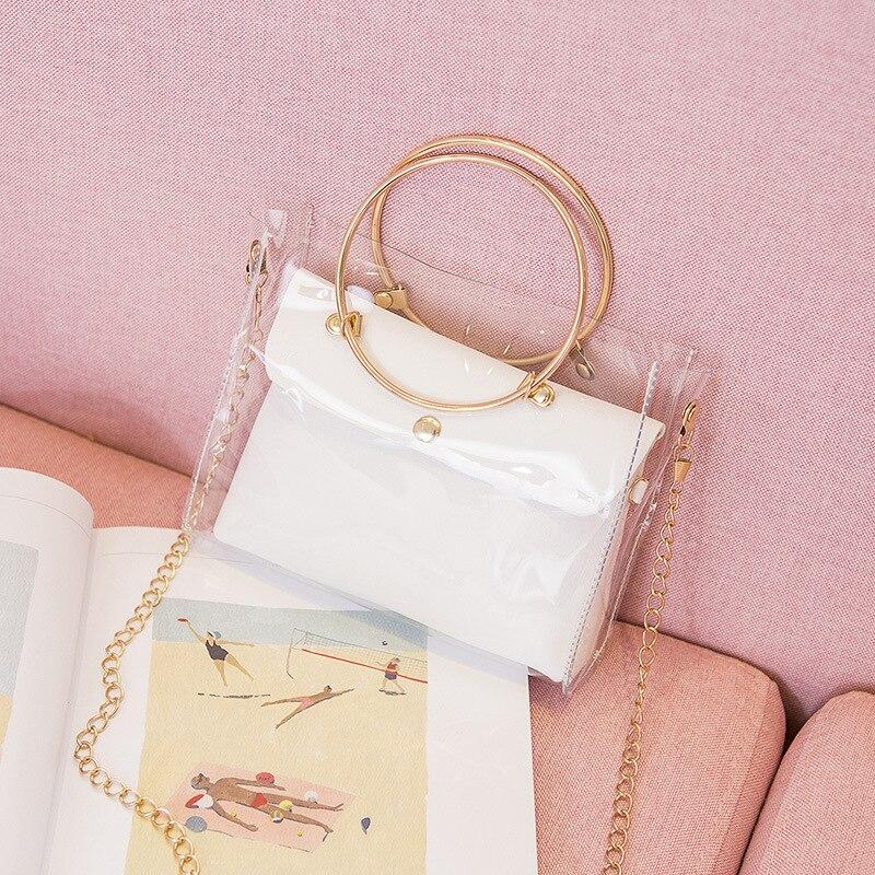 2020 Design Luxury Handbag Women Transparent Bucket Bag Clear PVC Jelly Small Shoulder Bag Female Chain Crossbody Messenger Bags
