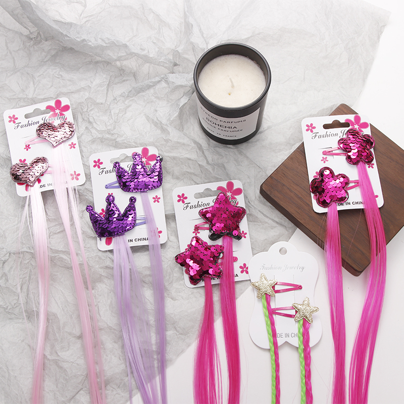 2PCS/Set Girls Colorful Star Heart Crown Wig Hair Clips Hair Holder Children Hairpins Barrettes Headbands Kids Hair Accessories