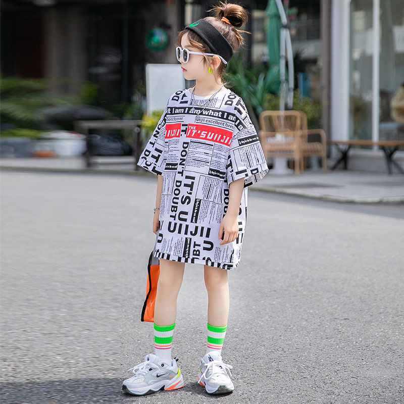 2020 Summer <font><b>girls</b></font> <font><b>t</b></font> <font><b>shirt</b></font> Baby long teen kids <font><b>dress</b></font> Children streetwear clothes newspaper full letter print 4 to 14 yrs image
