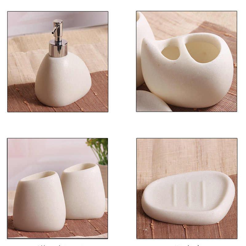 5 sztuk/zestaw akcesoria łazienkowe żywicy brukowiec projekt butelka lateksowa zębów mydło ze szkła szczoteczka do zębów uchwyt Home Decoration JS22