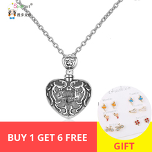 Strollgirl 100%925 sterling silver forever in my heart pendant cremation pattern coffin necklace woman commemorative jewelry new