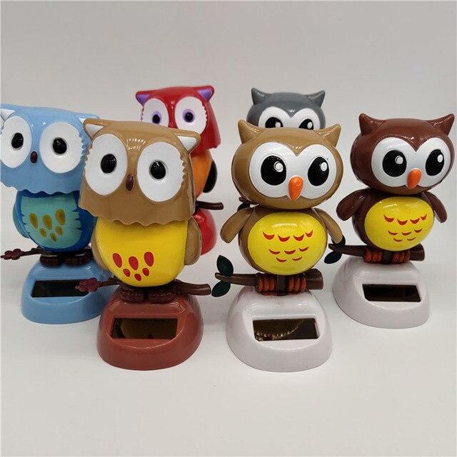 1Pcs Solar Powered Cute Owl Birds Shaking Head Car Ornament Solar Toys Classic Swing Doll Auto Dashboard Accessories Toys 1