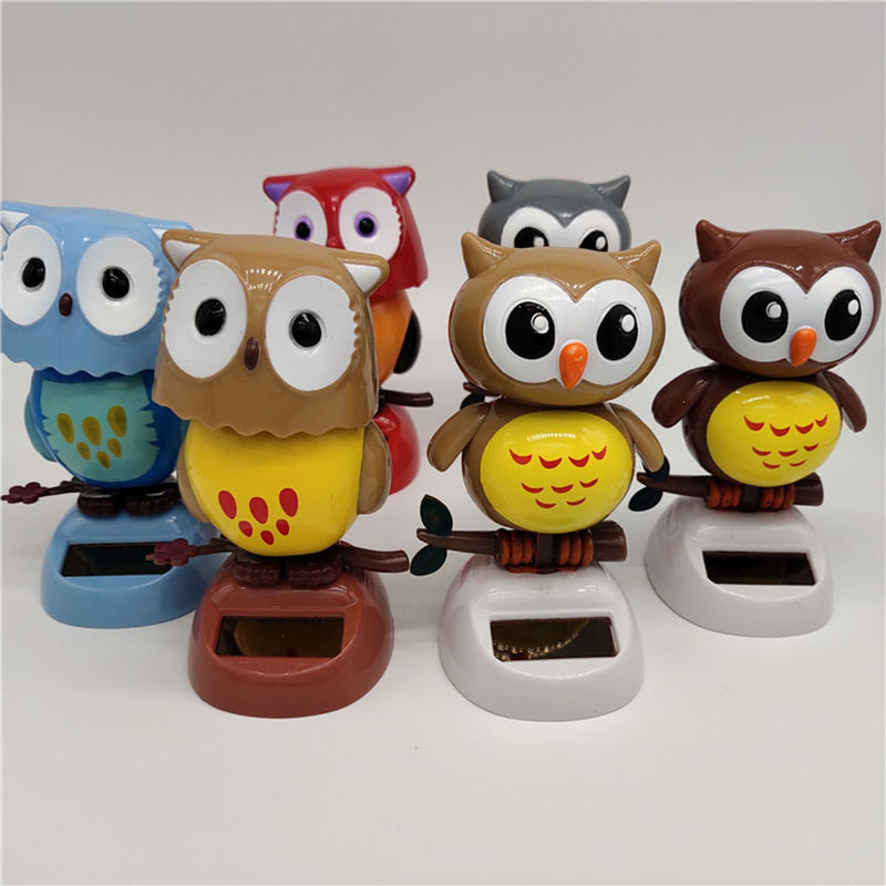 1Pcs Solar Powered Cute Owl Birds Shaking Head Car Ornament Solar Toys Classic Swing Doll Auto Dashboard Accessories Toys