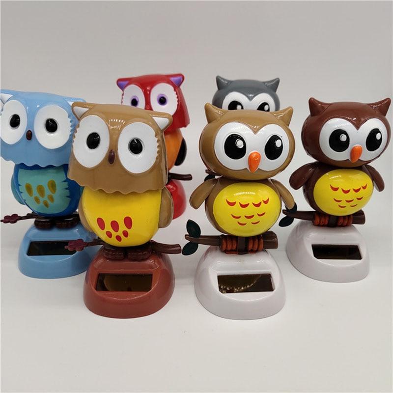 1Pcs Solar Powered Cute Owl Birds Shaking Head Car Ornament Solar Toys Classic Swing Doll Auto Dashboard Accessories Toys