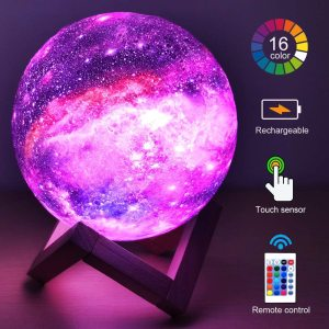 ZK20 3D Printing Moon Lamp Galaxy Moon Light Kids Night Light 16 Color Change Touch and Remote Control Galaxy Light as Gifts