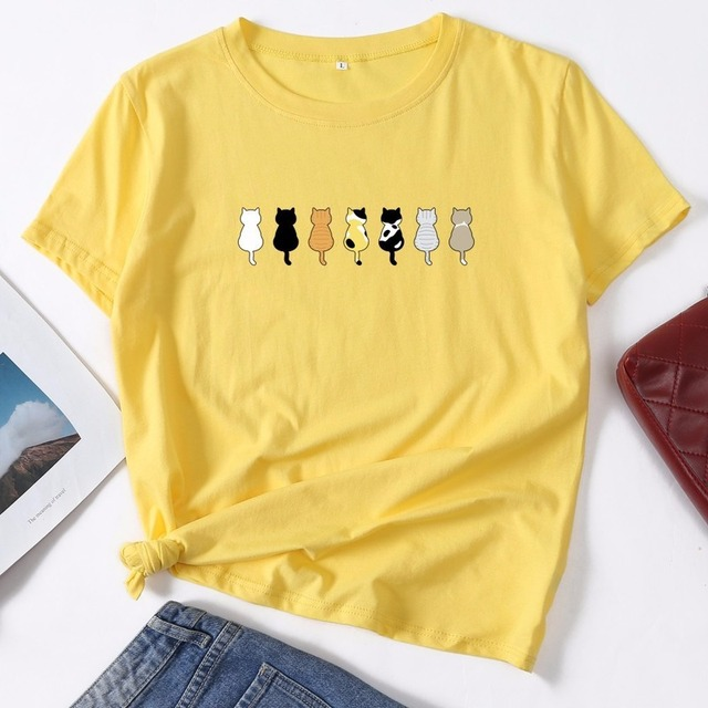 Cotton Summer Women T Shirt S-5XL Plus Size Cute Cats Print Short Sleeve Ladies Basic Tees Top Casual O-Neck Female Woman TShirt