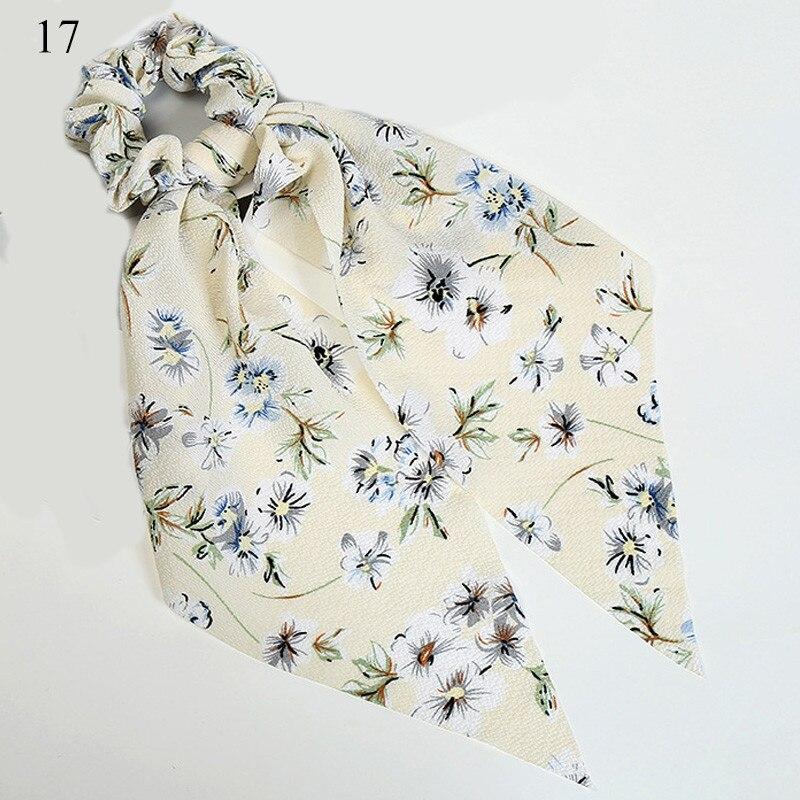 Богемные резинки для волос в горошек с цветочным принтом и бантом, женские эластичные резинки для волос, повязка-шарф, резинки для волос, аксессуары для волос для девочек - Цвет: New 17