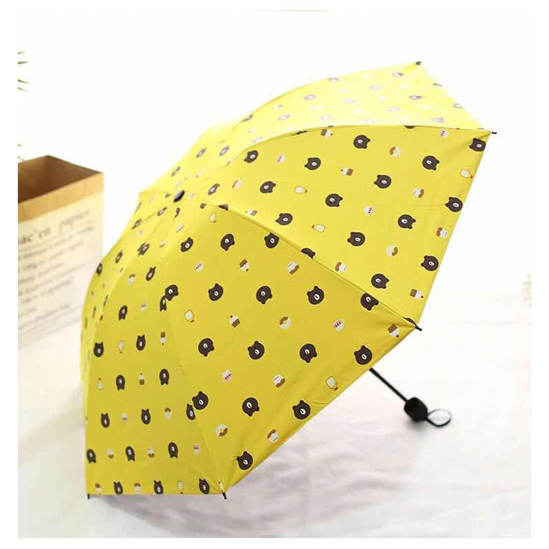 Creative Cartoon Brown Bear Vinyl UV-Protection Parasol Folding Fresh All-Weather Umbrella Customizable