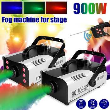 900W Disco Colorful Smoke 3in1 Machine LED Remote Fogger Ejector DJ Christmas Party Stage Light Fog Machine for Party Wedding
