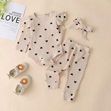 Для малышей; Комплекты одежды для маленьких девочек с принтом в виде сердечек сплошной комбинезон с кружевным гофрированным воротником для...