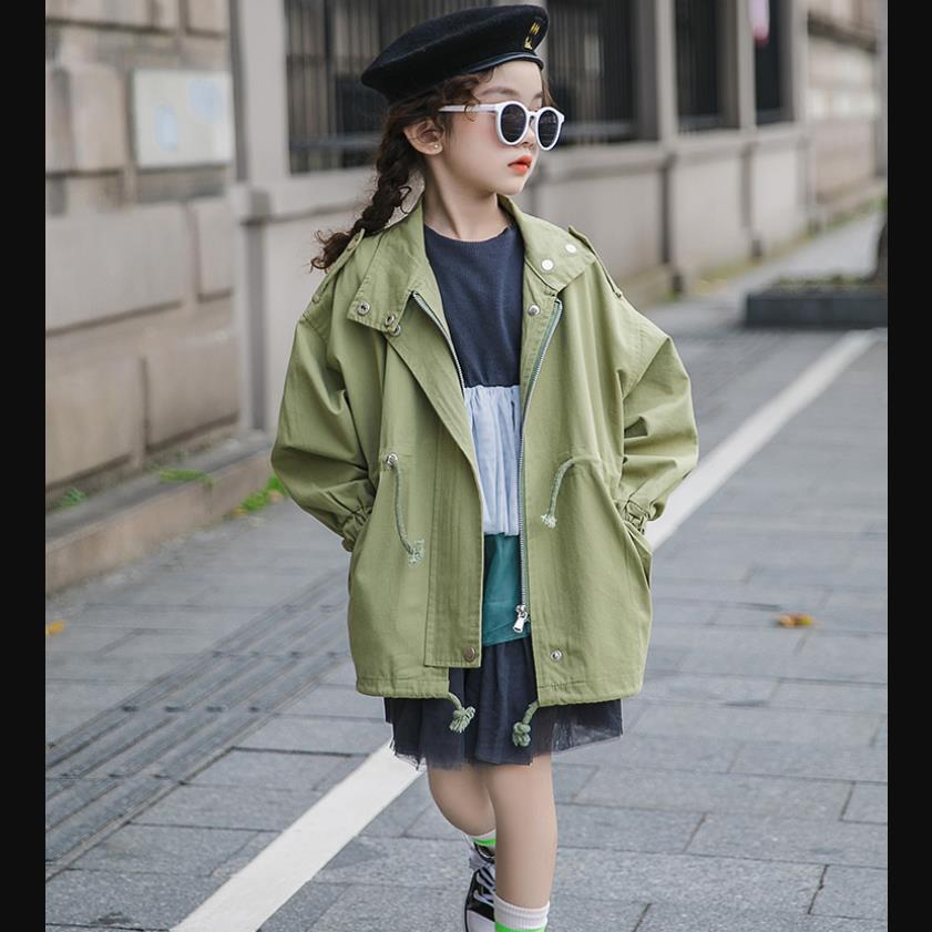 2019 spring autumn new   trench   coats for baby girls teenage loose long outerwear tops children clothes jackets 4-14Y WS964