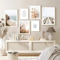 Pintura en lienzo de paisaje de hierba, arte de pared, paisaje escandinavo, cita, imagen, decoración moderna para el hogar, póster e impresión para diseño de habitación