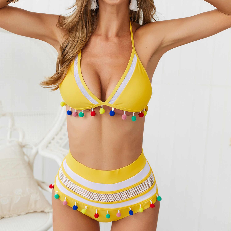Sexy Hohe Taille Bikini Beize Anzug Bademode Frauen Bikinis 2020 Mujer Quaste Pompom Badeanzug Mesh frauen Schwimmen Anzug YQ373