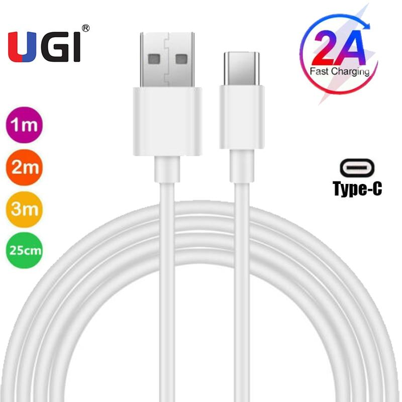 Кабель для быстрой зарядки UGI 2A Type-C USB C для Samsung Huawei Xiaomi RedMi HTC кабель для передачи данных 1 м/2 м/3 м ПВХ белый