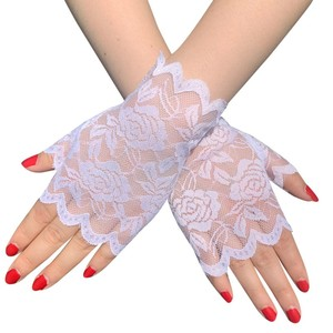 Image 5 - 6 Pairs Fingerless Women Lace Gloves Floral Lace Gloves Sunblock Lace Gloves Dressy Gloves for Wedding Dinner Parties ST254