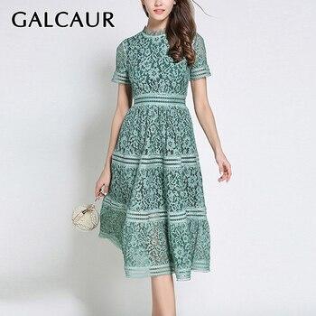 GALCAUR Korean Hollow Out Dress Women O Neck Short Sleeve High Waist Lace Slim Elegant Midi Dresses Female Fashion 2020 New