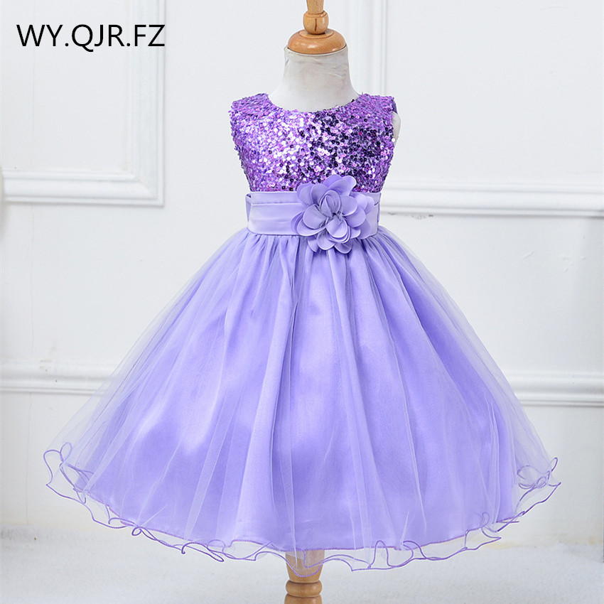 BH-L067#Ball Gown Lavender Rose Red Little Bridesmaid Costume Sequins Gauze Flower Girls Dresses Children's Wear Short Wholesale