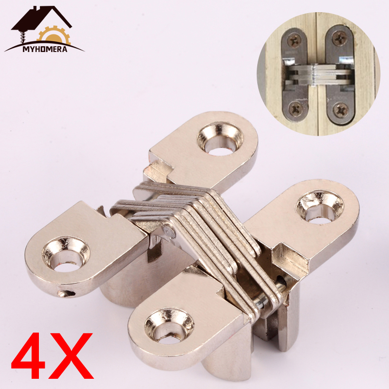 Myhomera 4Pcs Hidden Hinges 12x42MM Invisible Concealed Barrel Cross Door Hinge Bearing Wooden Box For Folding Window Furniture