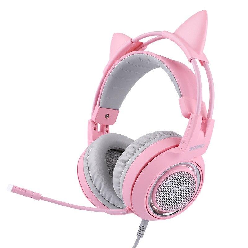 Cabeza montada 7,1 canal ancla gameing gato oreja auricular Rosa Lindo juego auriculares