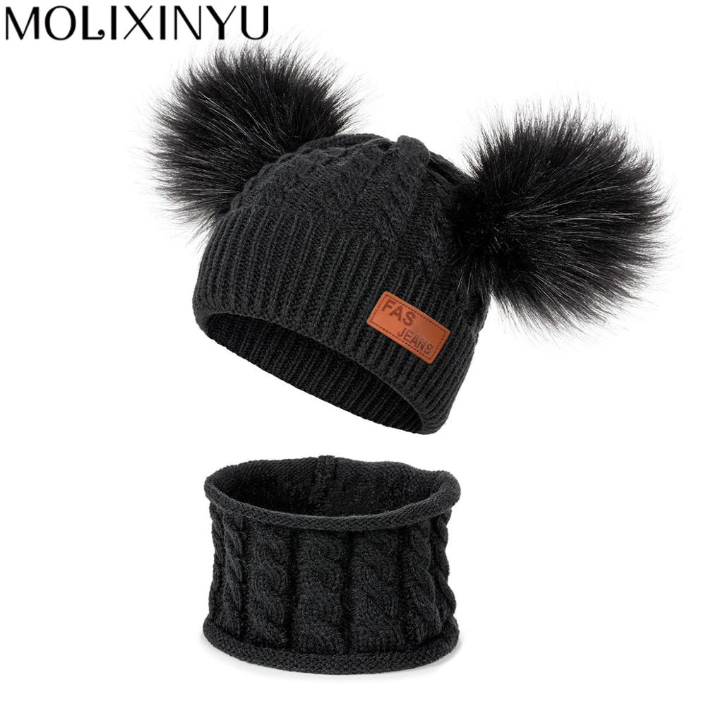MOLIXINYU 2 PS 2019 Baby Hat Scarf Knitted Plush Winter Warm Suit 2 Years Old Boys And Girls Cotton Winter Child Hat Scarf
