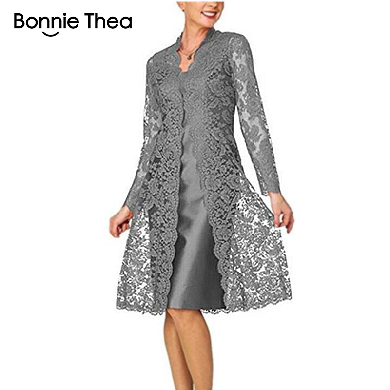 Bonnie Thea Women's Long Sleeve Two-Piece Lace Dress Lady Elegant Black Party Dress Vestido Women Spring Dress 2019