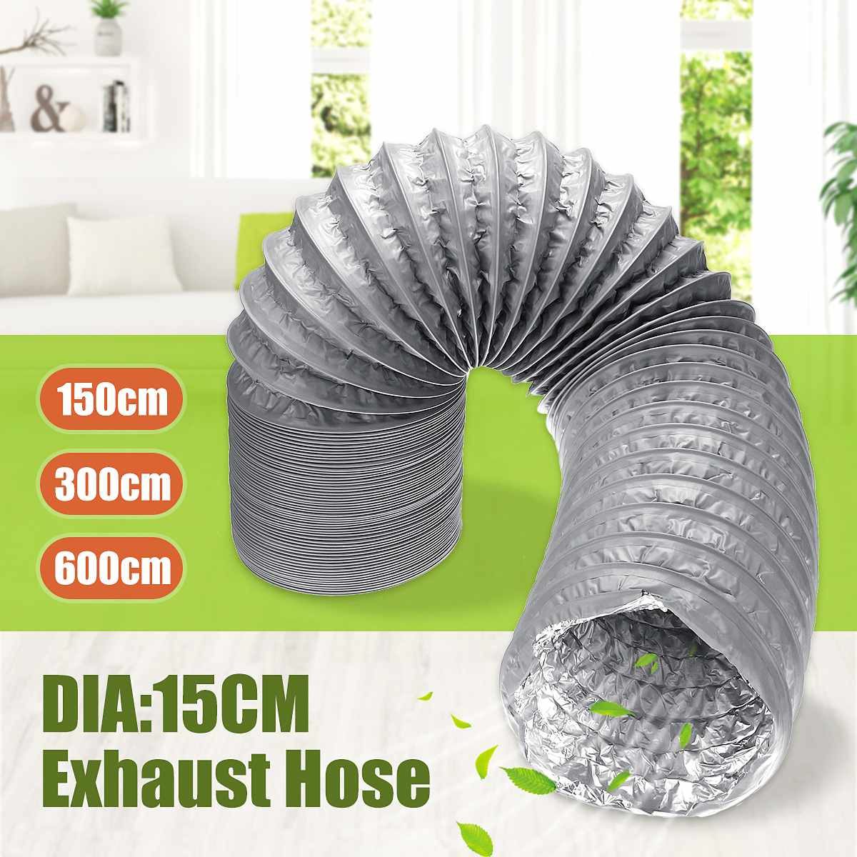 Exhaust Tube 150mm 130mcm 1.5M/3M/6M Flexible PVC Alufoil Exhaust Vent Hose Air Ventilation Exhaust Fan Pipe Kitchen Accessories