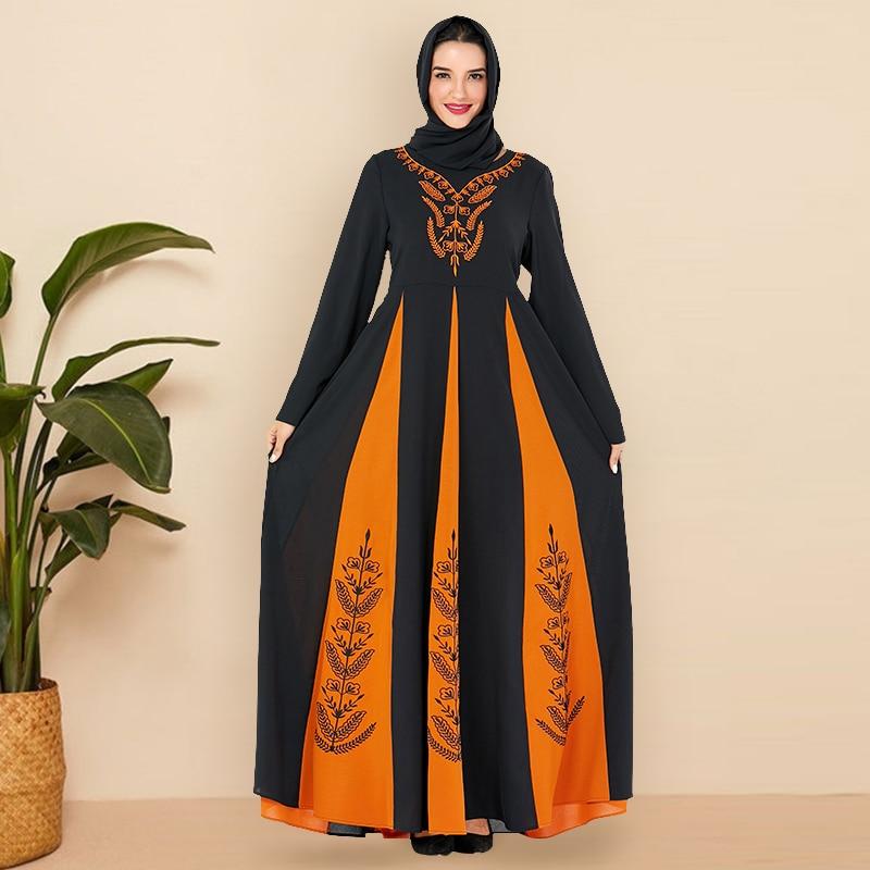 Siskakia Traditional Arabic Dress Fashion Hit Color Patchwork Embroidery Muslim abaya dresses Moroccan kaftan Women Clothes Fall