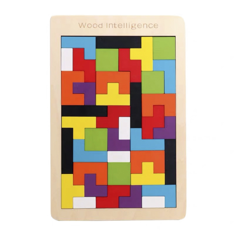 Colorful Wooden Puzzle Toys Fun Tetris Game Educational Toys Intelligence Imagination Education Kid Toys For Children Gifts