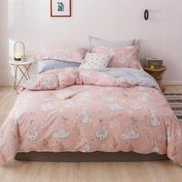 2019 White Bunny Rabbit Pink Duvet Cover Set High Count Cotton Bedlinens Twin Queen King Flat Sheet Fitted Sheet Bedding