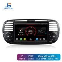 Jdaston android 10.0 reprodutor de dvd do carro para fiat 500 multimídia navegação gps 1 din rádio do carro estéreo autoaudio wifi buit em dps