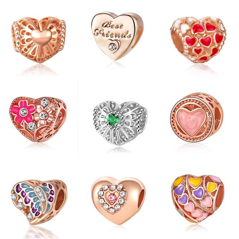 Fit Pandora or coeur perles Bijoux Bijoux Bracciale bisutérus français perle argent parfums Mujer Originales Bracelet charmes