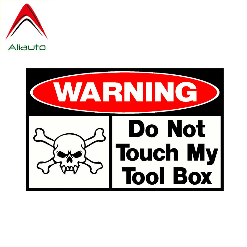 Aliauto Warning Car <font><b>Sticker</b></font> Do Not Touch My Tool Box Skull Decal Accessories PVC for Mitsubishi <font><b>Golf</b></font> <font><b>4</b></font> Cooper Kia Rio,16cm*10cm image
