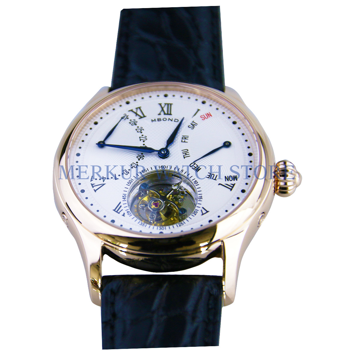 AD30 BOND Mens Watch Mechanical Seagull ST8004 Tourbillon Movment Dress Day Date Week Luxury gold case