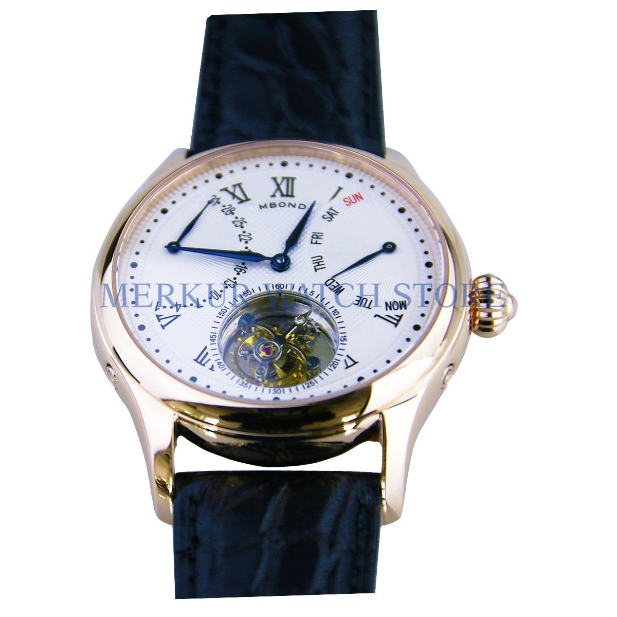 BOND Mens Watch Mechanical Seagull ST8004 Tourbillon Movment Dress Day Date Week Luxury gold case