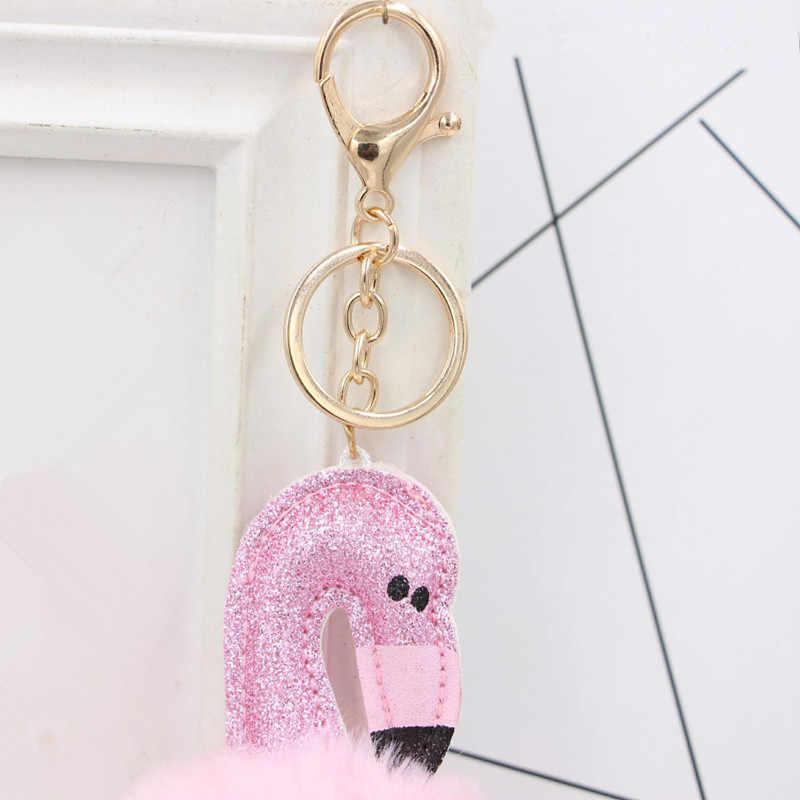 Women Bag Pink Flamingo Key Chain Ring Nice Purse Keychain Key Holder Charm Handbag Car Pendant Accessories Gift