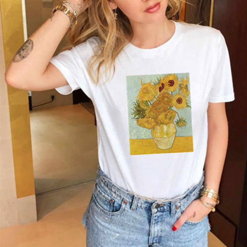 Van Gogh Sunflower T-shirts Women Harajuku Ulzzang Tumblr Kawaii Femme T Shirt Casual Tops Tee Vintage Womens T Shirt